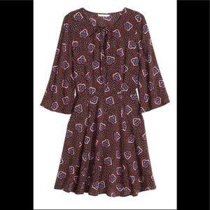 H&M Black Red Blue Flirty Patterned Dress New L 12